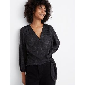 NWT Madewell Floral Jacquard Side-Tie Wrap Top